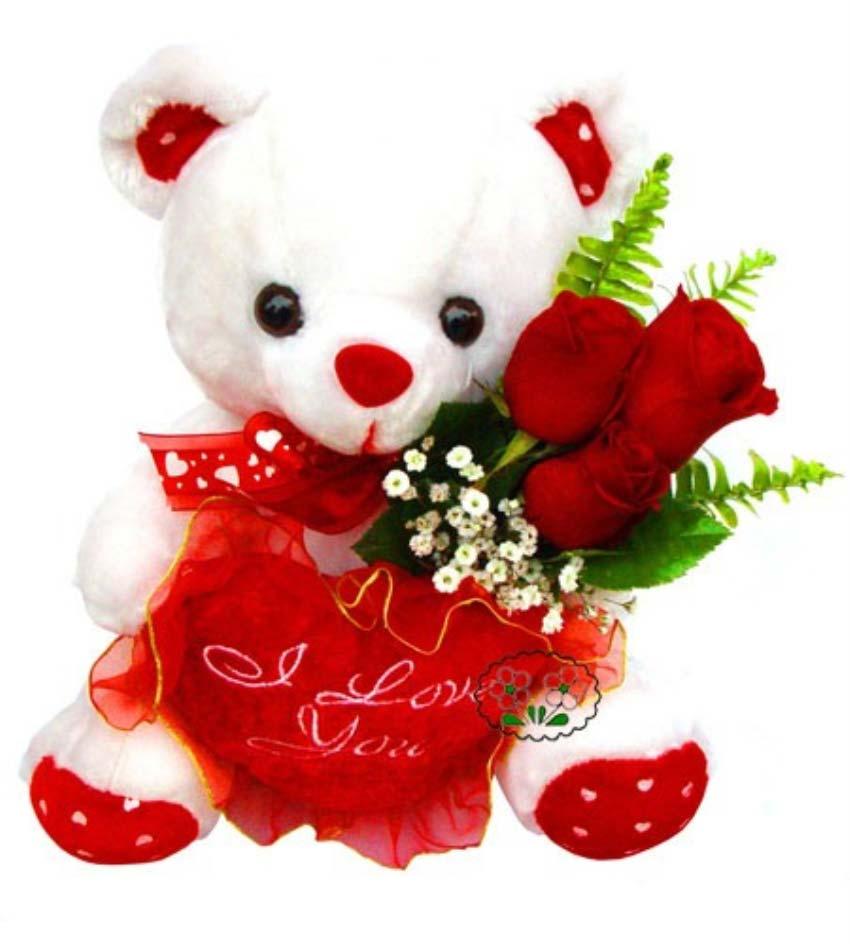 Sana bir süprizim var, aşkım. 3 adet kırmızı güllerden oluşan buket, 1 peluş ayıcık boy 25 cm