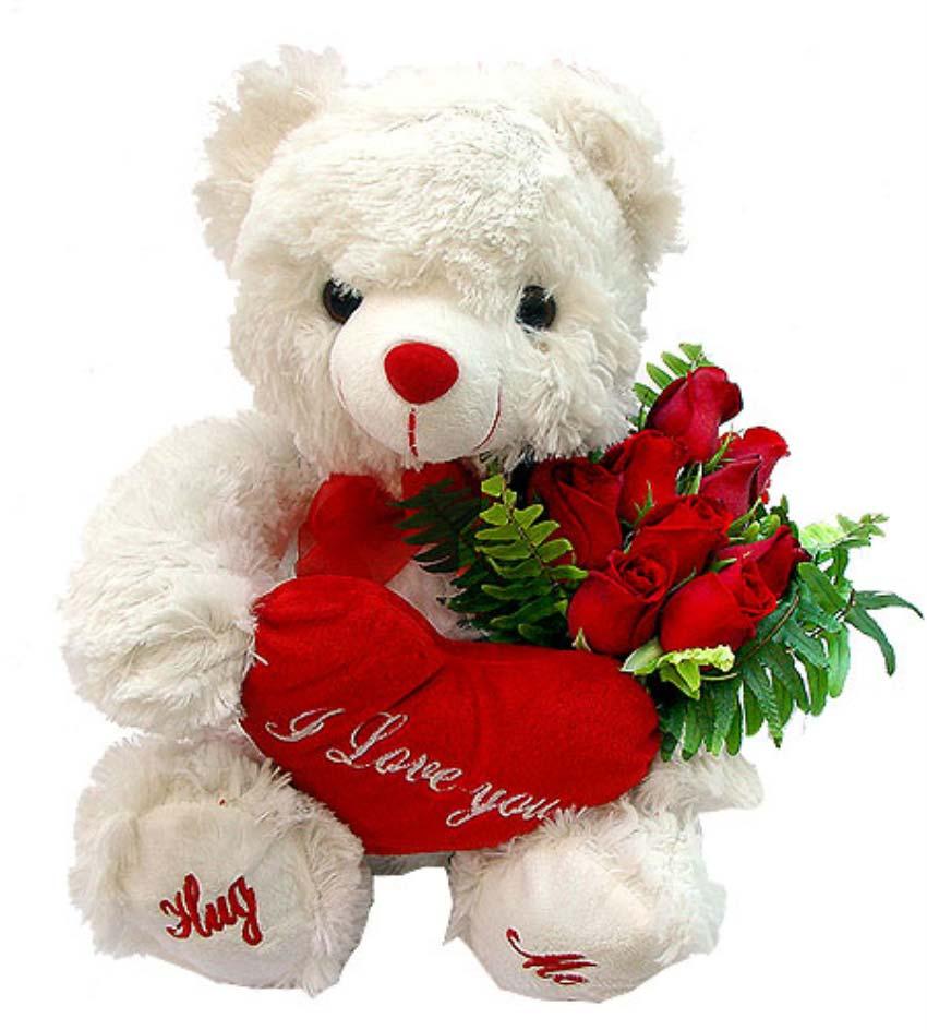 Sen benim prensesimsin. 9 adet kırmızı güllerden oluşan buket, 1 adet peluş ayıcık boy 50 cm