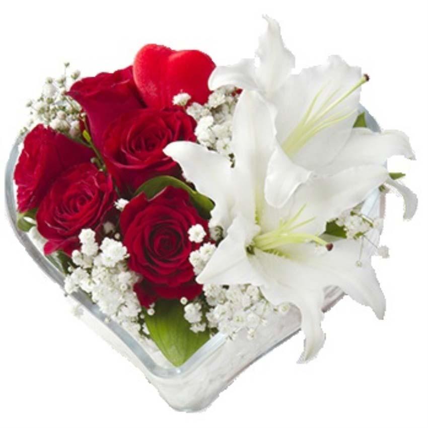 Seni sensiz yaşamak zor yarim. Kalp vazo içerisinde 5 adet kırmızı gül, 2 adet beyaz lilyumlardan oluşan arajman 1 adet kalp çubuk