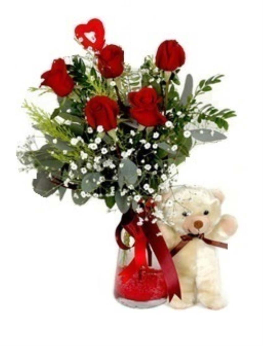 Bizim aşkımız güzel bir roman olur bebeğim. Cam vazo içerisinde 5 adet kırmızı güllerden oluşan arajman, 1 adet peluş ayıcık, 1 adet kalp çubuk